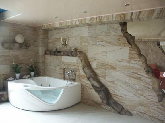 Гибкий камень к интерьере ванной комнаты