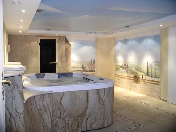Гибкий камень к интерьере ванной