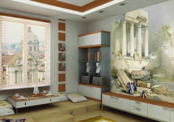 Фреска в интерьере комнаты