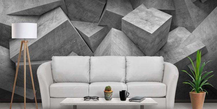 3D обои в гостиной комнате