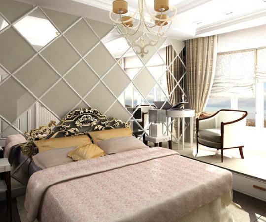 Зеркальные вставки над кроватью