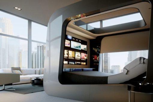 Интерьер спальни в стиле техно