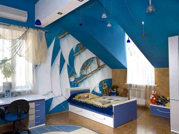 Синий цвет в детской комнате